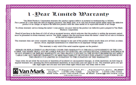 1 Year Manufacturer's Limited Warranty